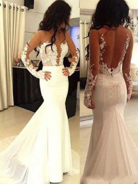 Mermaid Scoop Chiffon Applique Sweep/Brush Train Prom Dresses