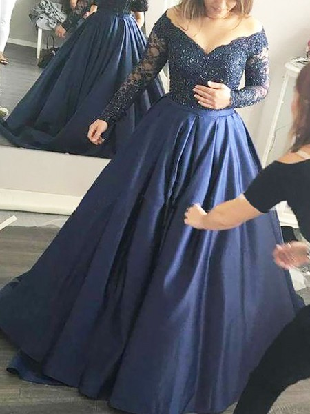Off-the-Shoulder Beading Satin Sweep/Brush Train Ball Gown Prom Dresses