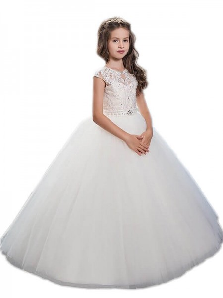 Scoop Beading Floor-Length Tulle Ball Gown Flower Girl Dresses