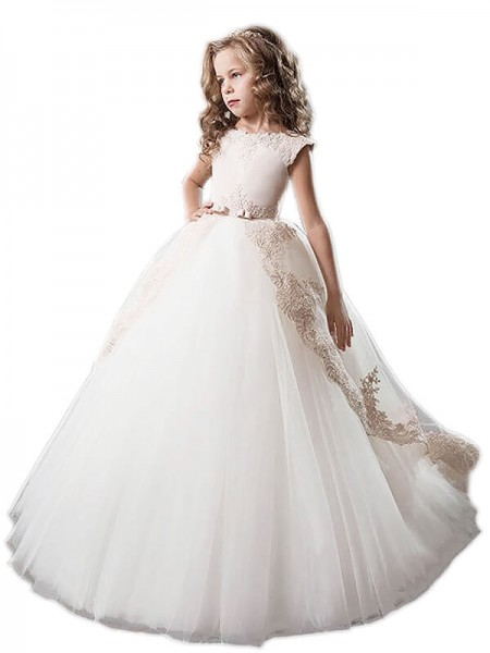 Scoop Tulle Applique Floor-Length Ball Gown Flower Girl Dresses