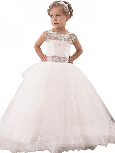 Scoop Lace Floor-Length Tulle Ball Gown Flower Girl Dresses