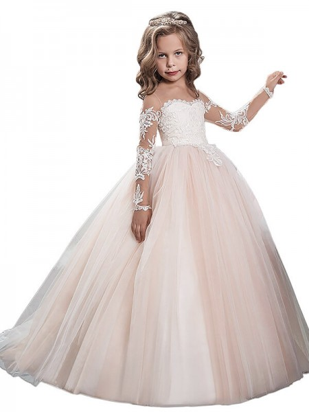 Scoop Sweep Train Tulle Ball Gown Flower Girl Dresses