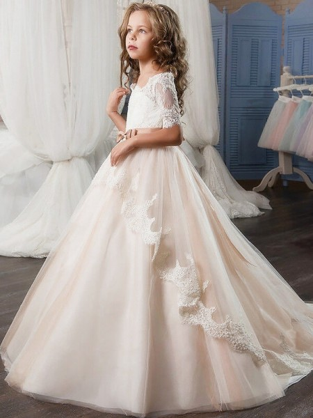 Off-the-Shoulder Tulle Sash/Ribbon/Belt Ball Gown Flower Girl Dresses