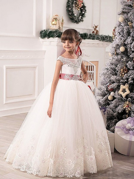 Scoop Sash/Ribbon/Belt Tulle Floor-Length Ball Gown Flower Girl Dresses