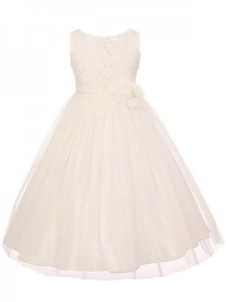 A-Line Scoop Tulle Sash/Ribbon/Belt Ankle-Length Flower Girl Dresses