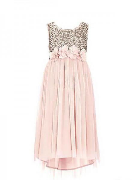 A-Line Scoop Sequin Chiffon Floor-Length Flower Girl Dresses