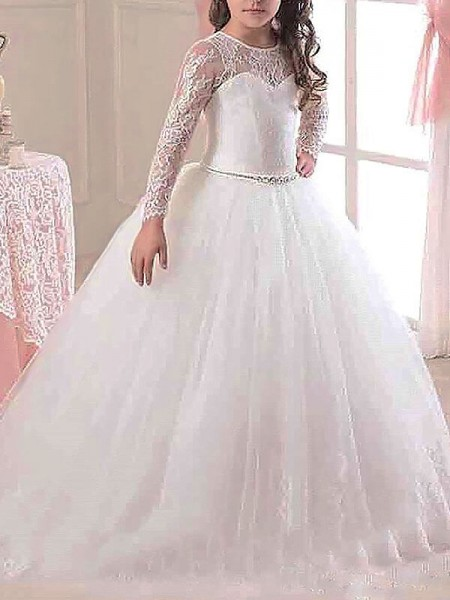 Scoop Floor-Length Lace Tulle Ball Gown Flower Girl Dresses