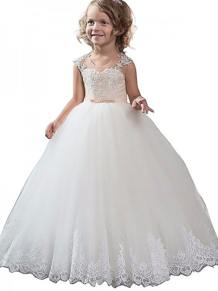 Scoop Applique Tulle Floor-Length Ball Gown Flower Girl Dresses