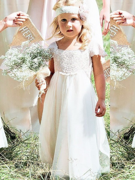 A-Line Square Lace Floor-Length Chiffon Flower Girl Dresses