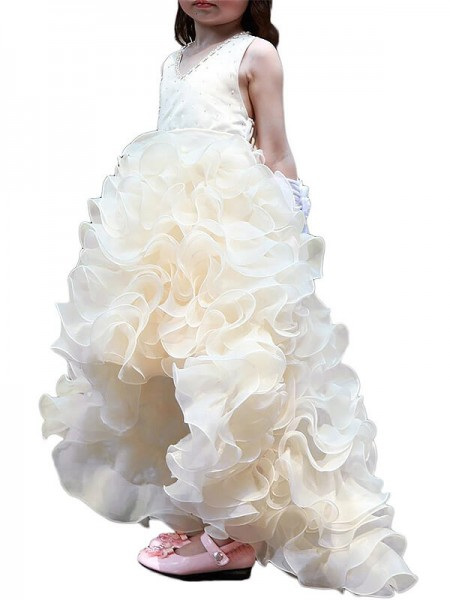 A-Line V-neck Asymmetrical Organza Ruffles Flower Girl Dresses