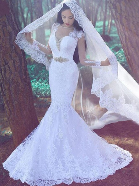 Mermaid Applique Sweetheart Lace Court Train Wedding Dresses
