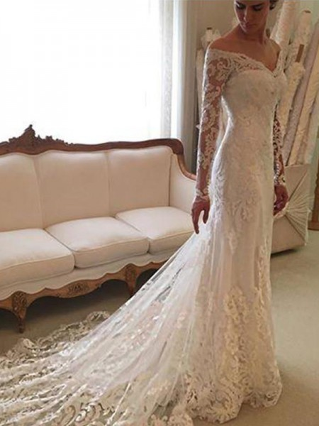 Sheath Lace Off-the-Shoulder Court Train Wedding Dresses