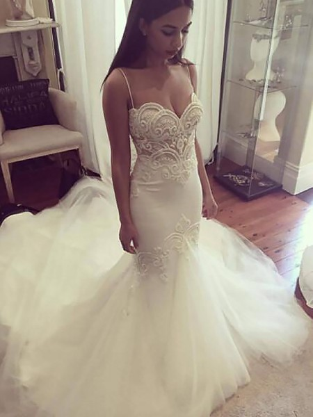 Mermaid Spaghetti Straps Chapel Train Tulle Wedding Dresses