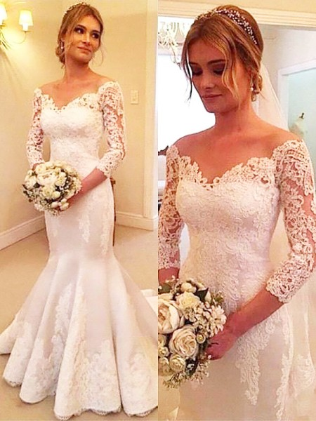 Mermaid Satin Off-the-Shoulder Lace Court Train Wedding Dresses