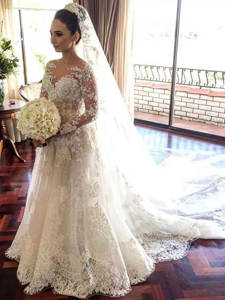 A-Line Bateau Lace Chapel Train Tulle Wedding Dresses