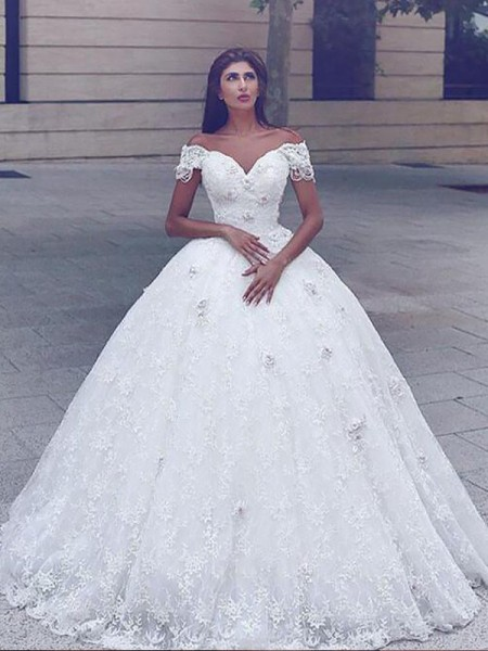 Ball Gown Lace Floor-Length Off-The-Shoulder Wedding Dresses