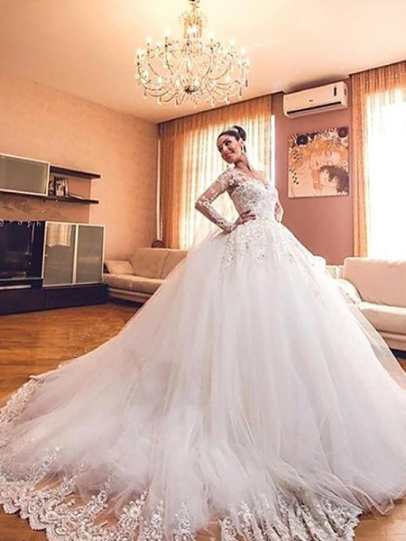 Tulle V-neck Court Train Ball Gown Wedding Dresses