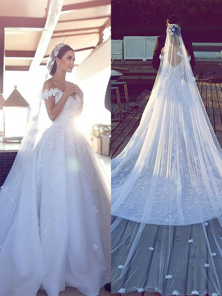 Satin Chiffon V-neck Chapel Train Ball Gown Wedding Dresses