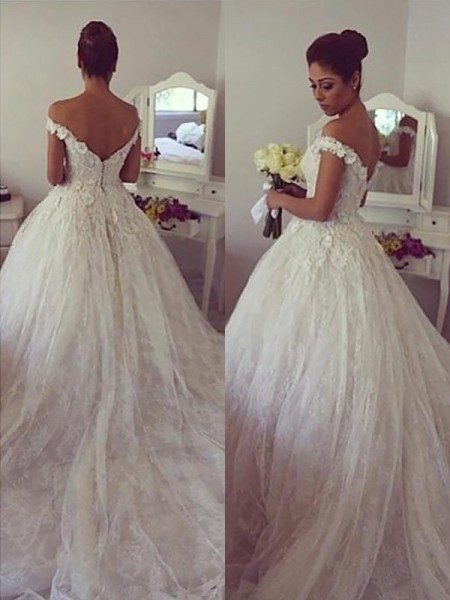 Off-the-Shoulder Lace Court Train Ball Gown Wedding Dresses