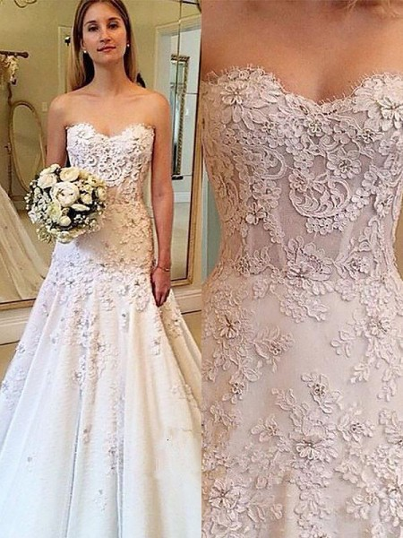 A-Line Sweetheart Lace Court Train Wedding Dresses