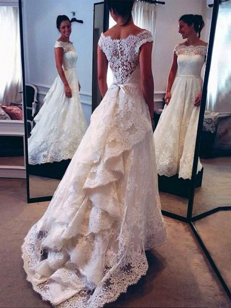 A-Line Scoop Lace Sweep/Brush Train Wedding Dresses