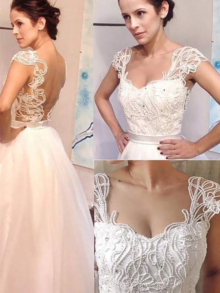 A-Line Sweetheart Sweep/Brush Train Tulle Wedding Dresses