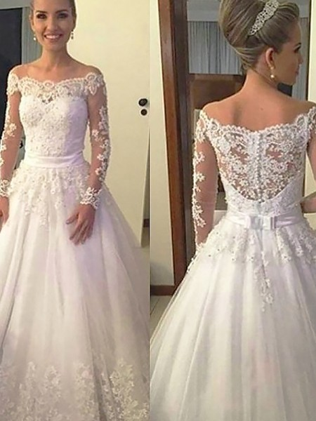 Off-the-Shoulder Lace Tulle Court Train Ball Gown Wedding Dresses
