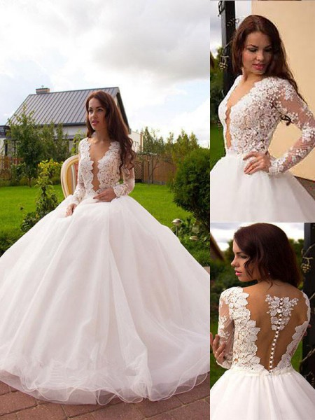 V-neck Tulle Court Train Ball Gown Wedding Dresses