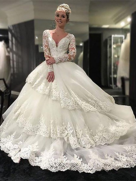 V-neck Lace Tulle Court Train Ball Gown Wedding Dresses