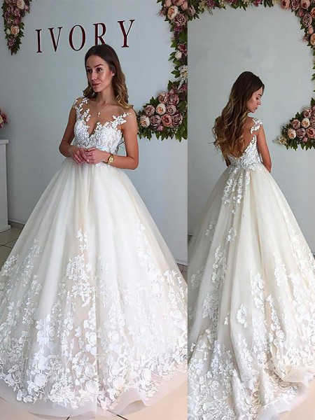 A-Line V-neck Court Train Tulle Ball Gown Wedding Dresses