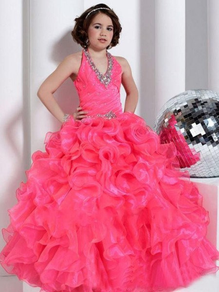 Halter Beading Organza Ball Gown Flower Girl Dresses