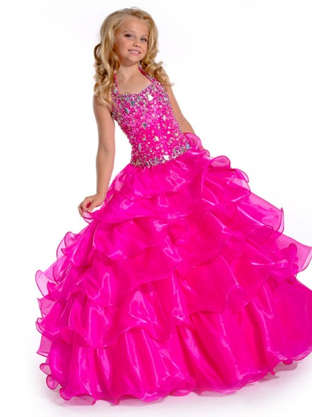 Halter Rhinestone Organza Ball Gown Flower Girl Dresses