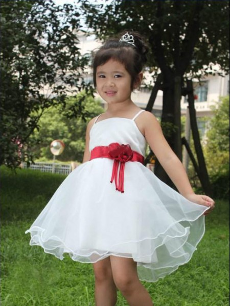 A-Line Spaghetti Straps Hand-made Flower Short Organza Flower Girl Dresses