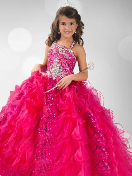 Straps Sequin Organza Ball Gown Flower Girl Dresses