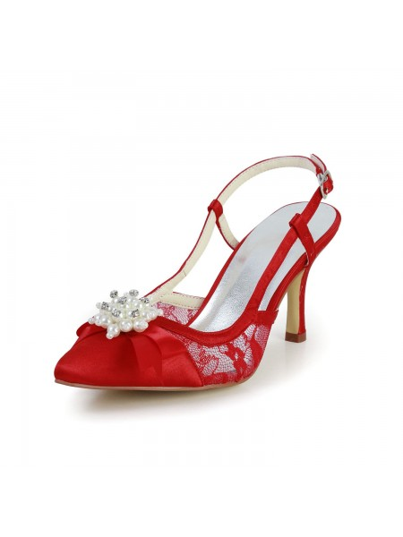 Latest Women's Pretty Satin Stiletto Heel Sandals Closed Toe With Pearl Red Wedding Shoes