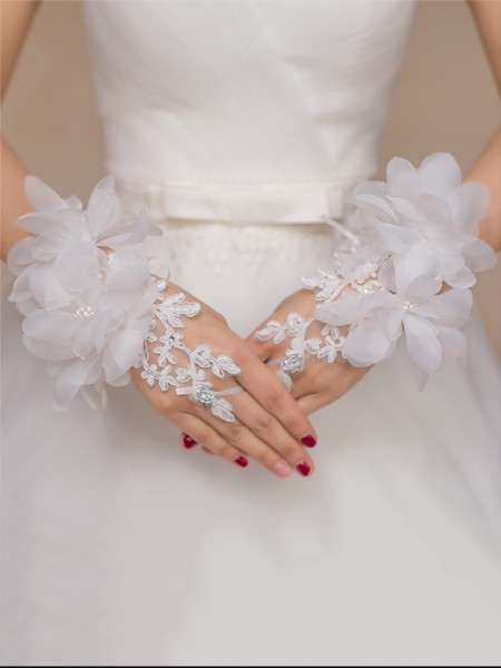 Fashion Romantic Tulle Hand-Made Flower Wedding Gloves