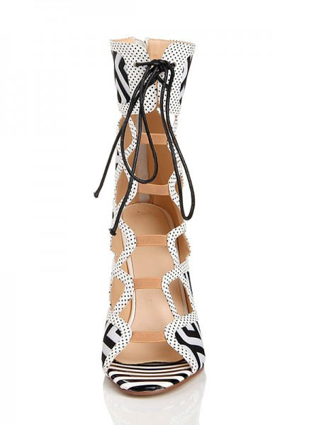 Latest Women's Stiletto Heel With Lace Up Peep Toe Flock Sandal Mid-Calf White Boots