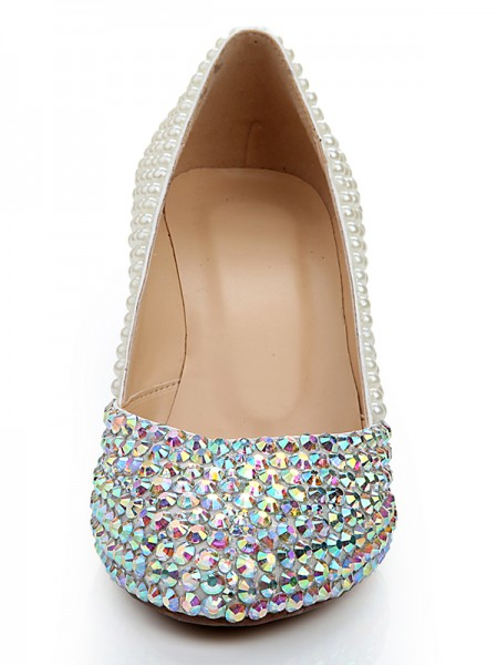 Latest Women's Patent Leather Wedge Heel With Rhinestone Pearl White Wedding Shoes