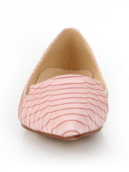 Latest Women's Sheepskin Closed Toe Flat Heel With Fish-scale Pattern Casual Flat Shoes