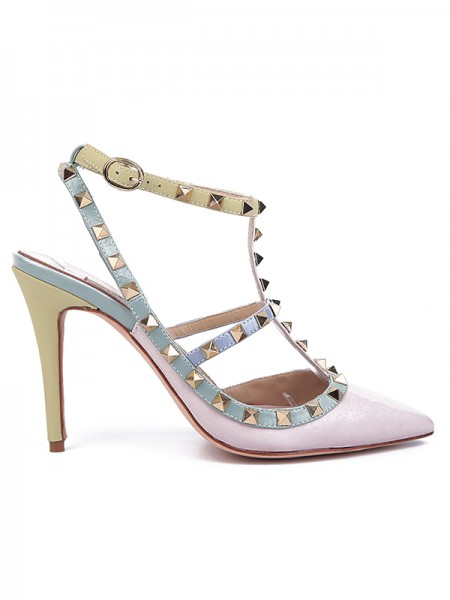 Latest Women's Sheepskin Closed Toe with Rivet Stiletto Heel Pink Sandals Shoes
