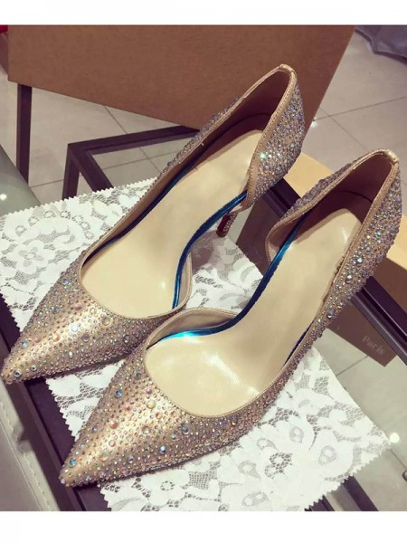 Latest Women's Satin Closed Toe Cone Heel With Rhinestone High Heels