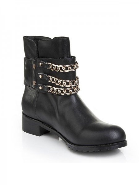 Latest Women's Cattlehide Leather Kitten Heel With Chain Booties/Ankle Black Boots