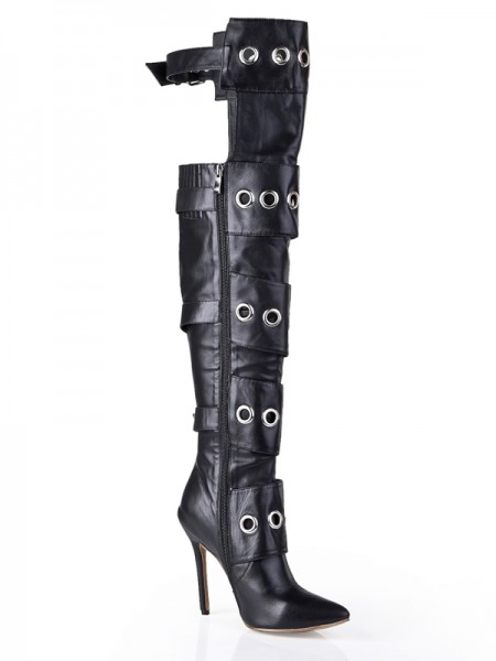 Latest Women's Cattlehide Leather Stiletto Heel With Buckle Knee High Black Boots