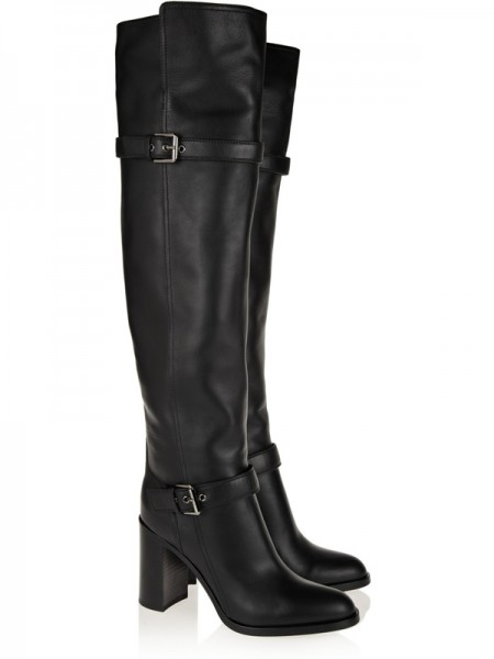 Latest Women's Chunky Heel Cattlehide Leather With Buckle Knee High Black Boots