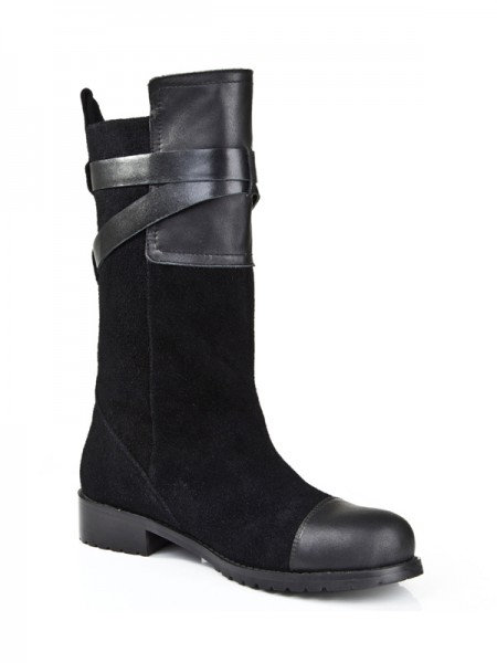 Latest Women's Suede Kitten Heel Closed Toe With Buckle Mid-Calf Black Boots
