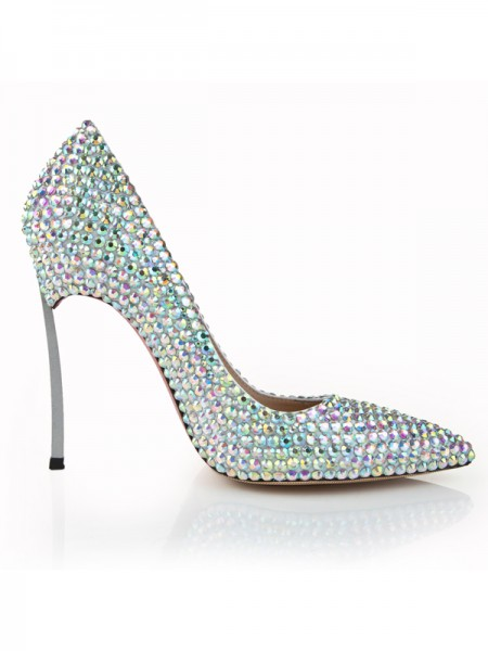 Latest Women's Stiletto Heel Closed Toe Patent Leather With Rhinestone High Heels