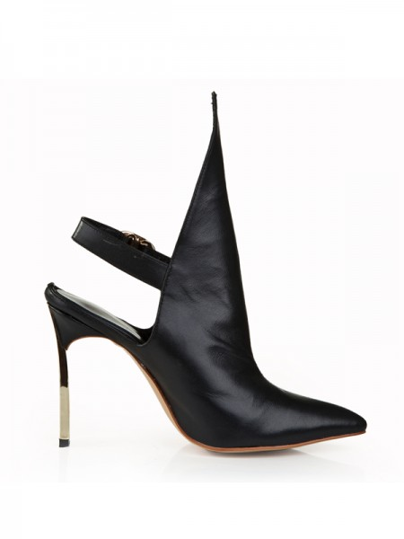 Latest Women's Cattlehide Leather Stiletto Heel Closed Toe With Buckle Black Booties