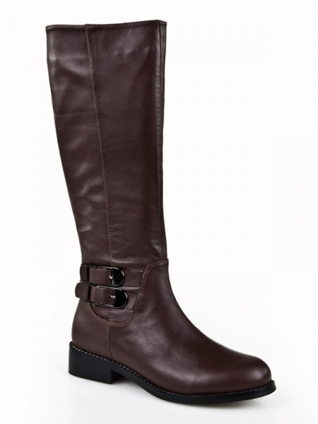 Latest Women's Kitten Heel Closed Toe Cattlehide Leather With Buckle Mid-Calf Chocolate Boots