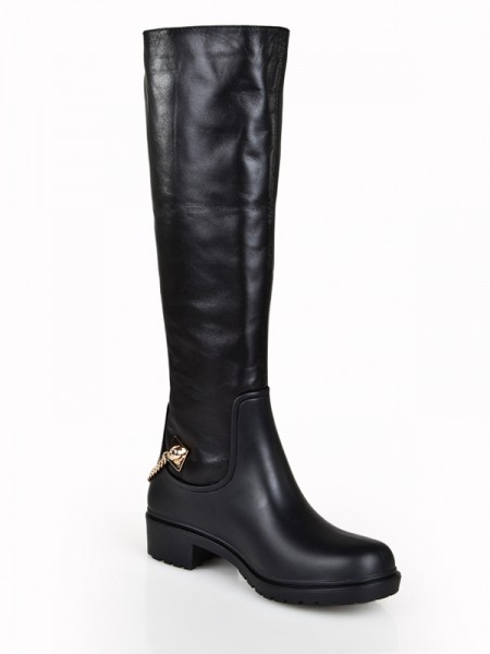 Latest Women's Cattlehide Leather Kitten Heel Closed Toe With Chain Knee High Black Boots
