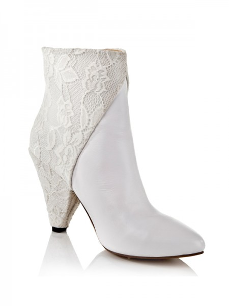 Latest Women's Cattlehide Leather Net Cone Heel With Lace Ankle White Boots